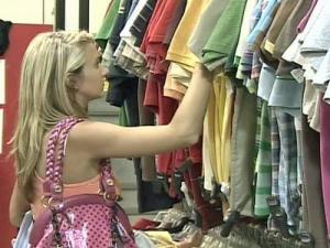 A shopper checks out the clothing at Plato's Closet in Cary.