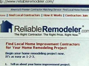 A screenshot of the Reliable Remodeler Web site.