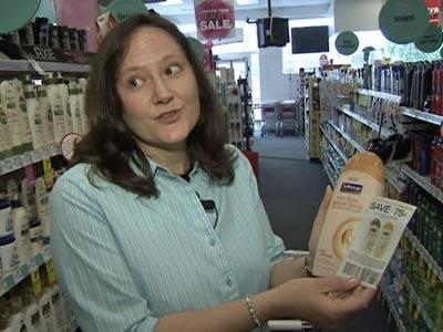 Faye Prosser uses coupons to save money at drug stores.