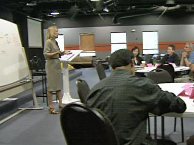 Debbie Castrodale teaches career classes at the Avadon Group in Cary.