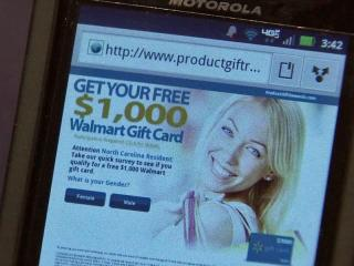 In tough economic times, who wouldn't want a free shopping spree from Walmart or a free gift card for Best Buy? Text messages, tweets and emails circulating right now promise just that, and unsuspecting consumers are falling for scams because they tout reputable companies and, on the surface, appear legitimate.