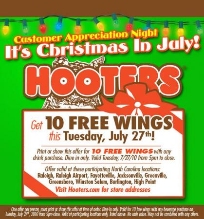 Hooters free wings 7/27