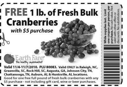 Earth Fare cranberry coupon