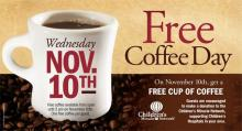 IMAGE: Reminder: Free coffee at Bruegger's on Wednesday