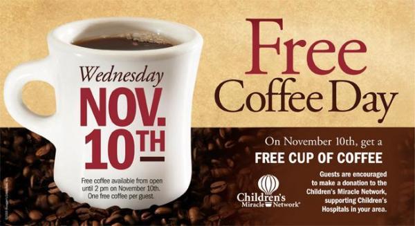 Bruegger's free coffee day!
