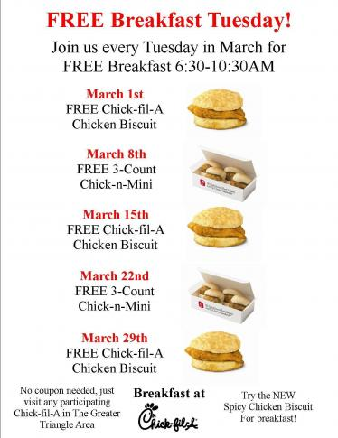 photograph regarding Chickfila Printable Coupons named Chick-fil-A No cost breakfast upon Tuesdays inside March and even