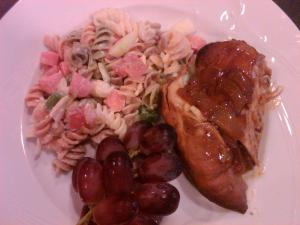 BBQ chicken, pasta and fruit