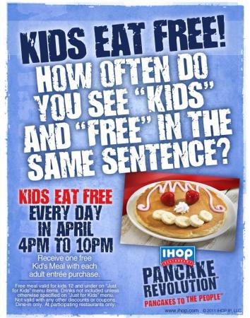 IHOP kid's eat free