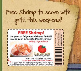 Earth Fare free shrimp!
