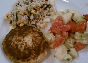 Crab Cake, Rice, Tomato and cuke salad