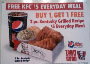 KFC BOGO coupon