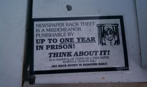 Newspaper Theft Warning