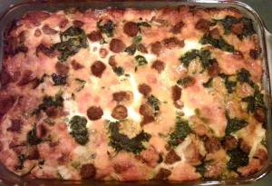 Breakfast casserole with spinach