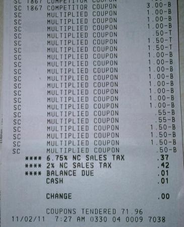 Faye's Super Doubles receipt - yep, 1 cent for all that stuff!