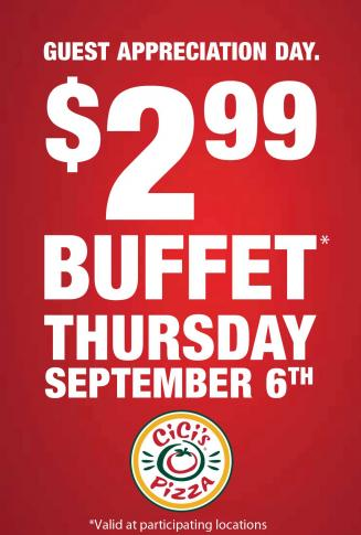 reminder cicis pizza buffet 299 today wralcom