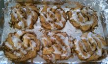 Cinnamon rolls on pan