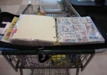 Coupon organizer on grocery cart