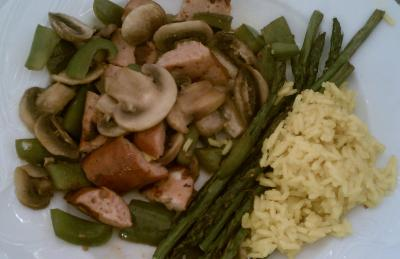 Chicken sausage and veggies