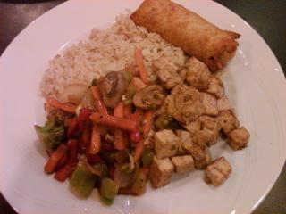 Teriyaki tofu, veggies, rice and a veggie egg roll