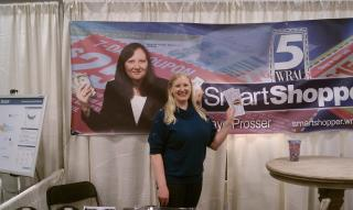 Holly at the Smart Shopper booth! She even won $30 to spend at the show from a drawing at another booth!