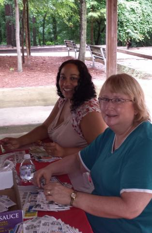 Coupon swap at the picnic with Juanita and Libby!