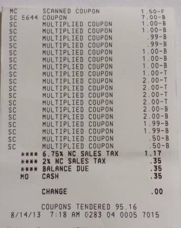 Harris Teeter receipt: $95.51 worth of products for 34 cents!