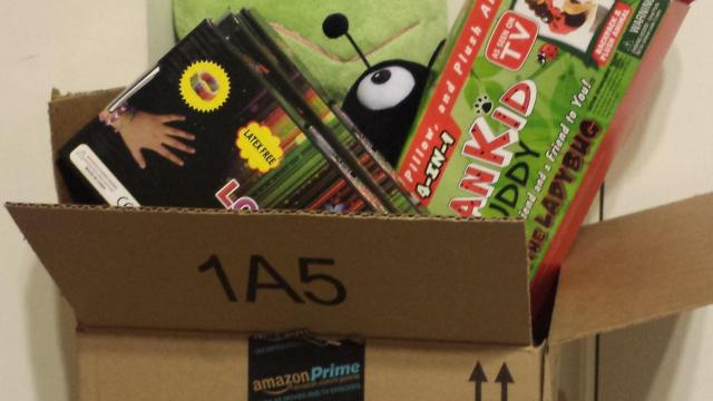 Amazon.com box with toys