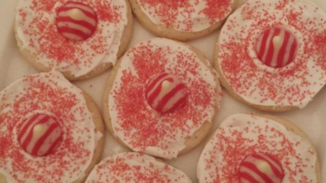 Sugar cookies with red sprinkles