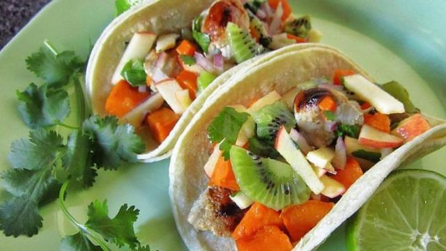 Diana's Honey Lime Pork and Sweet Potato Tacos with Kiwi Apple Slaw