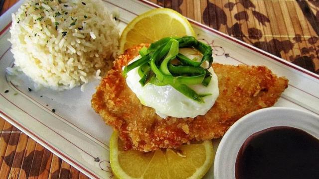 Tilapia Katsu with Shaved Asparagus and a Poached Egg