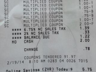 Harris Teeter Super Doubles on 2/19/14. Paid $1.22 for $93.19 worth of product!