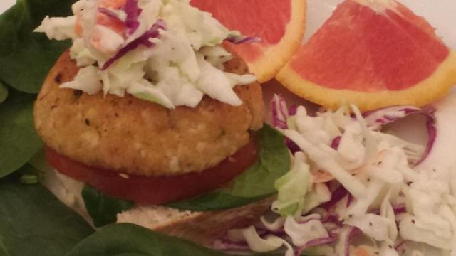 Crab cakes and slaw