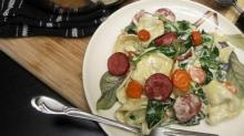IMAGES: A Spoonful of Luxe recipe: Roasted Carrot, Turkey Sausage and Spinach Tortellini with a Gruyere Cream Sauce