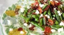 Diana's Green Beans with Balsamic Onions, Bacon and Goat Cheese