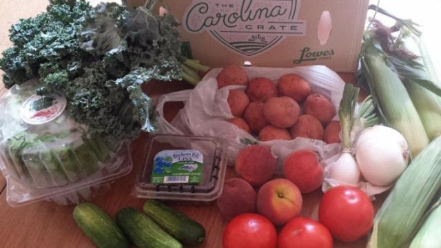 The Carolina Crate produce box from Lowes Foods.