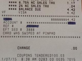 Harris Teeter receipt