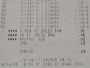 Faye's Harris Teeter Super Doubles receipt