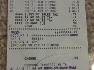 Harris Teeter Super Doubles receipt