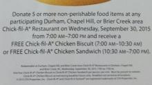 IMAGE: Free Chick-fil-A sandwich with food donation today!