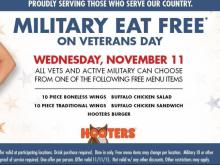 Hooters Veterans Day offer 2015
