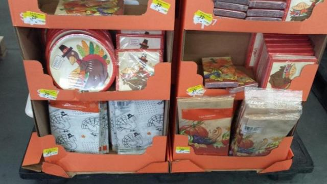Thanksgiving paper products clearance in December 2015.