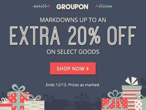 Groupon 20% off goods sale