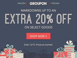 Groupon 20% off goods sale