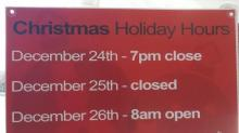 Christmas hours