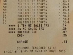 Receipt for Super Doubles shopping trip