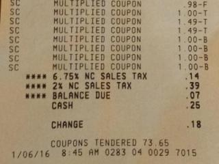 Receipt for Super Doubles shopping trip