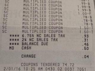 Harris Teeter Super Doubles receipt 2-1-16