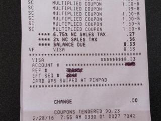 Harris Teeter Super Doubles receipt 2/28/16