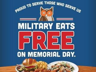 Hooters Memorial Day free meal for military offer