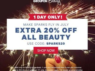 Groupon 20% off beauty offer